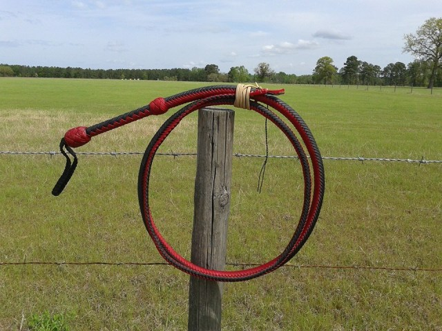 black red nylon bullwhip